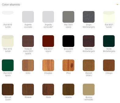 Zanzariera Katia: colori