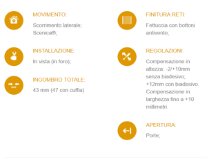 Caratteristiche tecniche della zanzariera per porte MiniScenica Evo