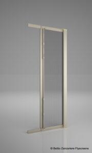 Zanzariera per porte a scorrimento laterale, con guida a pavimento, rete in fibra di vetro saldata con bottoni antivento, modello Lisa
