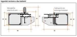 Schema misure degli ingombri zanzariera Lisa nella versione a due battenti